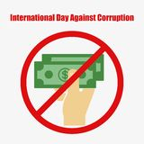 International Day Against Corruption. December 9. Vector illustration for your design, card, banner, poster and calendar Royalty Free Stock Photo