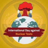International Day against Nuclear Tests, 29 August. Nuclear environmental impact conceptual illustration Stock Image