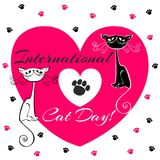 International day of cats. Holiday card. White and black cats. Cartoon-style. Funny funny kittens. Cat`s footprints. Heart. vector illustration