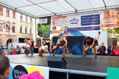 International Day of Dance in Frydek-Mistek. Liberty Square in Mistek Moravia, Czech Republic awaited you from 16:30 on dance show, which will feature all the Stock Image