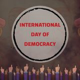 International Day of Democracy, 15 September. Speaker in crowd conceptual illustration Stock Photos
