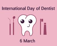 International day of dentist banner. Vector illustration in flat style. International day of dentist banner with teeth character. Vector illustration in flat Stock Photos