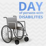 International day of disability persons concept background, cartoon style royalty free illustration