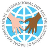 International day for the elimination of racial discrimination. With hand make heart on the world stock illustration