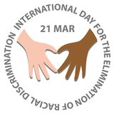 International day for the elimination of racial discrimination. With hand make heart royalty free illustration