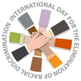 International day for the elimination of racial discrimination. With many hand holding around vector illustration