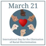 International Day for the Elimination of Racial Discrimination. March 21. March Holiday Calendar. People`s hands. Vector. stock illustration