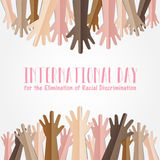 International Day for the Elimination of Racial Discrimination. 21 March. Many people human hands raising upward on white background, Equality concept campaign stock illustration