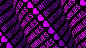 INTERNATIONAL DAY OF FAMILIES 3D digital text Scrolling Purple Cylinder Display Board Light Screen Seamless Looped Animation.