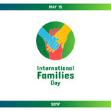 International Day of Families, May 15. Vector design element. Hand of child lying on woman`s and men`s hands. Symbol of family and togetherness concept Royalty Free Stock Photo