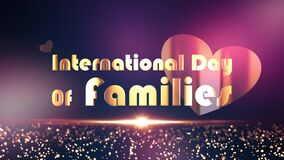 International Day Of Families title design background concept. 4K 3D Illustration seamless loop animation.