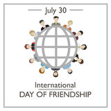 International Day of Friendship, July 30. Vector illustration for you design, card, banner, poster and calendar Royalty Free Stock Photos