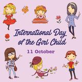International Day of the Girl Child Graphic and Illustration. For banner, book illustration, info graphic, Instagram picture and other print needs royalty free illustration
