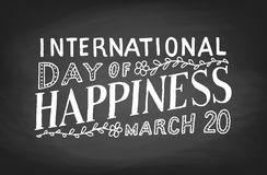 International Day of Happiness. Chalk board lettering Royalty Free Stock Image