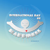 International day of Happiness concept on blue background. Royalty Free Stock Photos