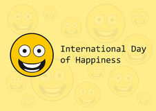 International Day of Happiness. Funny vector wishes. Festive card. Festive vector illustration. Funny vector illustration. Yellow background Smiley. March 20 day Stock Images