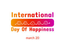 International Day of Happiness. March 20. Vector banner Vector Illustration