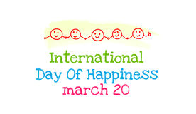 International Day of Happiness. March 20. Vector banner Royalty Free Illustration