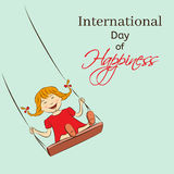 International Day of Happiness vector illustration. Laughing girl riding on a swing. You can insert your own text Stock Images