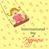 International Day of Happiness vector illustration. Laughing girl riding on a swing. You can insert your own text Stock Photos