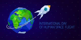 International day of human space flight. 12 April. Cosmonauts Day horizontal web banner with rocket and Earth. Polygonal style Royalty Free Stock Photos