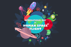 International Day Of Human Space Flight. Cosmos and UFO concept. Spaceship, satellites, planet and alien, extraterrestrial, stars and universe. Vector Stock Photography