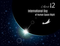 International day of human space flight poster. Vector. International day of human space flight banner or poster for your design. Vector illustration Royalty Free Stock Images