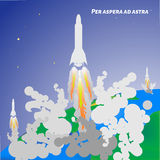 International day of human space flight. Rocket launch from eart. Vector illustration of rockets launch from earth. Space Royalty Free Stock Photos