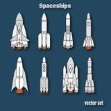 International day of human space flight. Spaceship landing. Spac Royalty Free Stock Photo