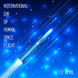 The rocket is flying among the stars. International Day of Human Space Flight. 12th of April. The rocket is flying among the stars. The effect of motion stock illustration