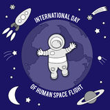 International Day Of Human Space Flight. Vector illustration for celebration design. It can be used for decoration greetings, invitations, advertising banner Stock Images