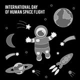 International Day Of Human Space Flight. Vector illustration for celebration design. It can be used for decoration greetings, invitations, advertising banner Stock Image