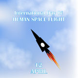 International Day of Human Space Fligth. Rocket. Blue sky. 12th of April. Vector illustration Stock Image