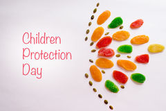 International children`s protection day. Multicolored pineapple candied fruits as a useful alternative to sweets Royalty Free Stock Image