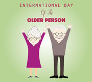 International day of the older person. Couple of older people. International day of the older person. Card template with cute grandma and grandpa. Couple of royalty free illustration