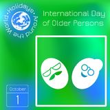 International Day of Older Person. The faces of the old man and woman are smiling. Series calendar. Holidays Around the World. Eve. International Day of Older vector illustration