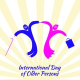 International Day of Older Person. Old man and woman jumping for joy. International Day of Older Person. Concept of a social holiday. Old man and woman jumping stock illustration