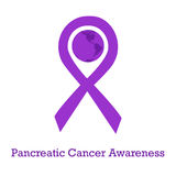 International day of pancreatic cancer awareness. Vector illustration with violet purple ribbon traditional symbol and earth globe in similar colors. Perfect Royalty Free Stock Photo