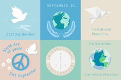 International Day of Peace design symbols. Different Poster template logo. Stock Images
