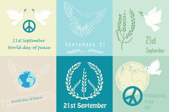International Day of Peace design symbols. Poster template logo. Royalty Free Stock Photography