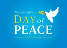 International Day of Peace with dove, olive branch and text. Vector blue background for Peace Day, concept illustration stock illustration