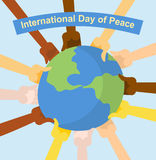 International day of peace. Hands of different nationalities hol Royalty Free Stock Photos