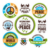 International Day of Peace labels Royalty Free Stock Photos