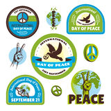International Day of Peace labels Stock Photo