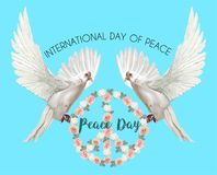 International Day of peace ,Pigeon with roses in peace sign shap royalty free stock images