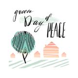 International Day of Peace Poster Templates with green abstract tree, houses and handwritten lettering phase Green day Stock Photo