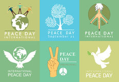 International Day of Peace symbols. Templates with a dove of peace vector Stock Image