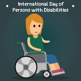 International Day of Persons with Disabilities, 3 December. Handicapped girl sitting on wheelchair conceptual illustration Stock Image