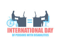 International Day of Persons with Disabilities. disabled at work stock illustration