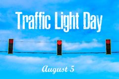 International Day of Traffic. 5th of August. A traffic light against the sky. International Day of Traffic. 5th of August. A traffic light against the sky stock photos